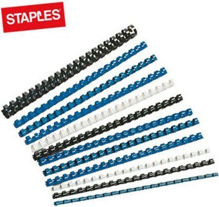 Staples Grzbiety do bindowania, plastikowe, 8mm, czarny, opakowanie 100 szt. (PD0054) 1