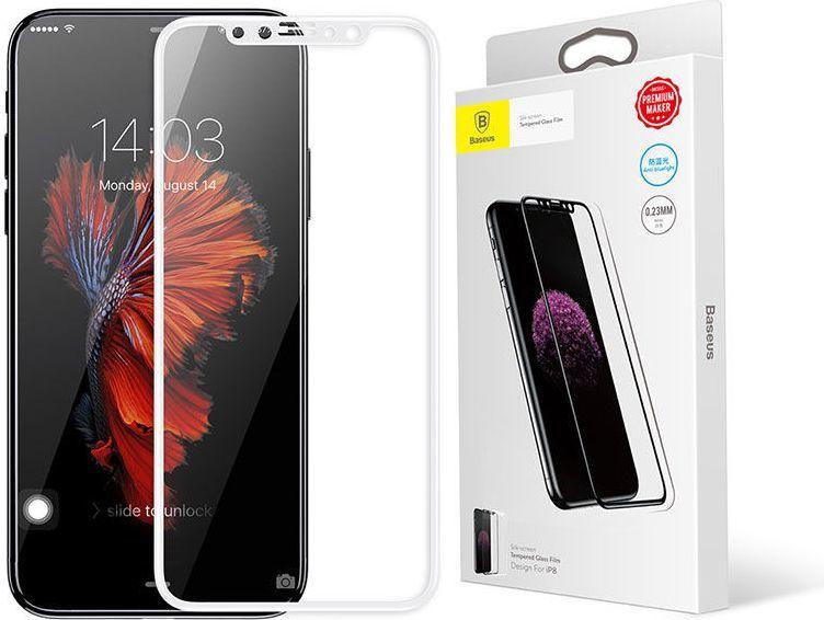 Baseus Baseus Szkło silk Apple iPhone X z elastyczną ramką białe 1