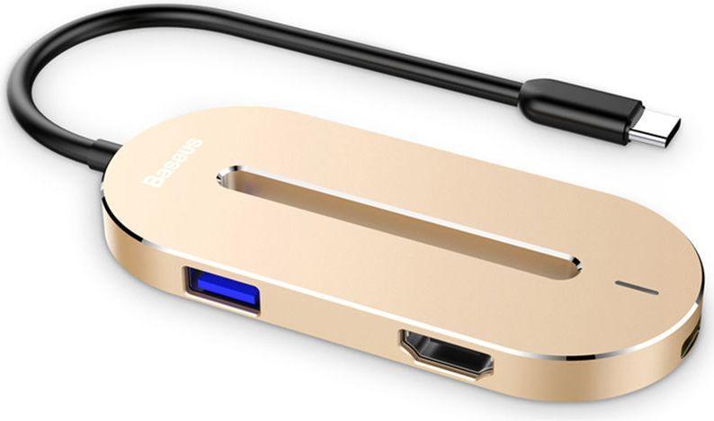 Stacja/replikator Baseus Baseus O HUB adapter usb-c typ c HDMI 4K 3x USB 3.0 - złoty 1