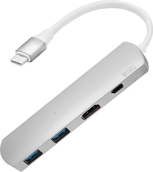 Stacja/replikator WiWU Adapter hub WiWU T3+ 4w1 USB-C - 2x USB HDMI 4K Typ C srebrny 1