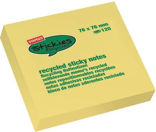 Staples Bloczek samoprzylepny RECYCLED 76x76mm, żółty, opakowanie 12 sztuk (C73760) 1