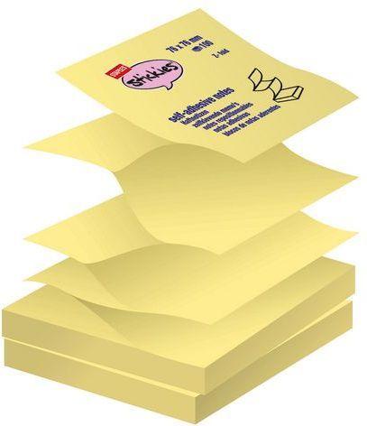 Staples Bloczek samoprzylepny harmonijkowy 76 x 76mm, 100 kartek, żółty 12 sztuk (C84120) 1