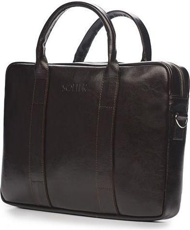 a7a5cc8372349 Solier Skórzana męska torba na laptopa Ciemny brąz Solier William w  Morele.net