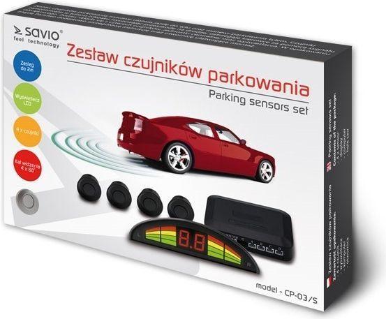 Elmak Czujnik cofania parkowania SAVIO 4x srebrny wyświetlacz CP-03/S-SAVIO  1