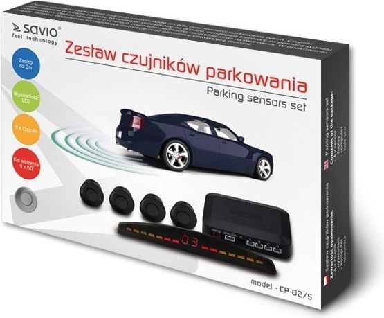 Elmak Czujnik cofania parkowania SAVIO 4x srebrny wyświetlacz  1