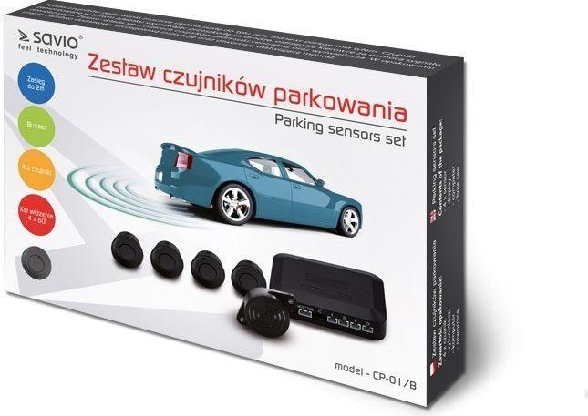 Elmak Czujnik cofania parkowania SAVIO 4x czarny buzzer  1