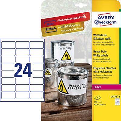 Avery Zweckform Etykiety wodoodporne ZF L4773-8 63.5x33.9mm 1