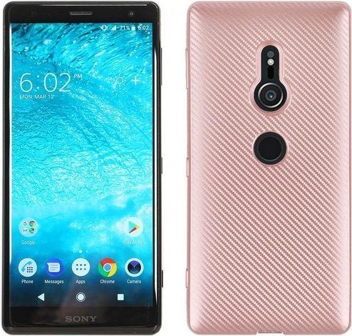 Etui Carbon Fiber Sony XZ2 Premium różowo-złoty 1
