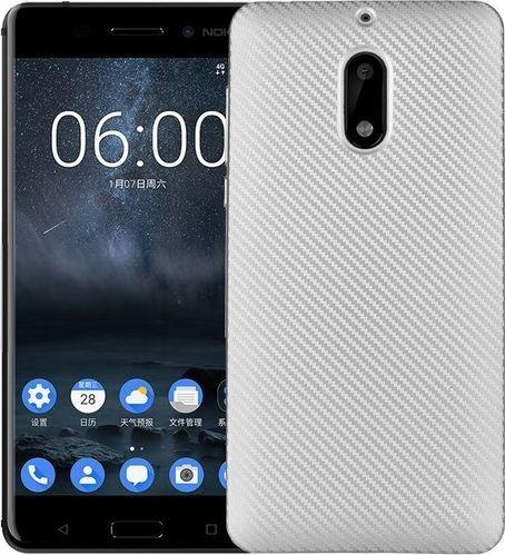 Etui Carbon Fiber Nokia 6 srebrny /silver 1