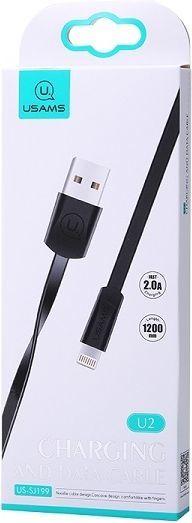 Kabel USB Usams USAMS Kabel płaski U2 Lightning 1,2m czarny/black SJ199IP01 iPhone 5/6/7/8/X (US-SJ199) 1