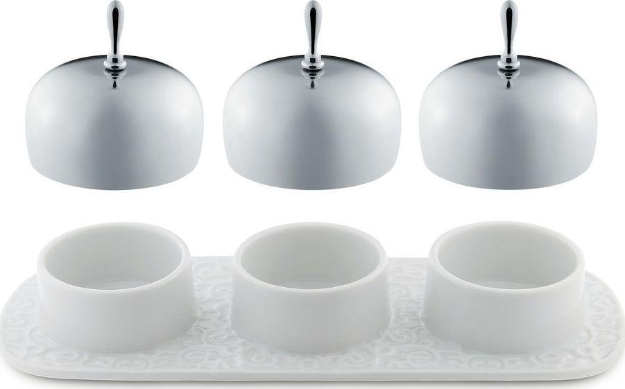 Alessi ALESSI   DRESSED Taca z trzema pojemnikami z białej porcelany z przykrywkami z polerowanej stali nierdzewnej   długość 21 cm 1