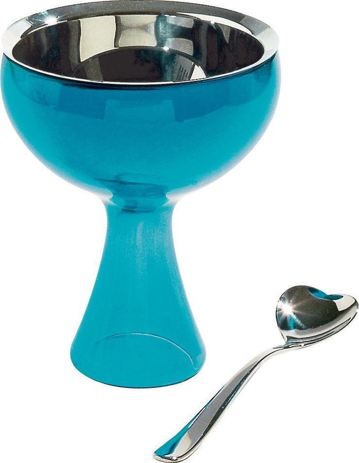 Alessi ALESSI   Big Love zestaw puchar do lodów i łyżeczka   niebieski 1