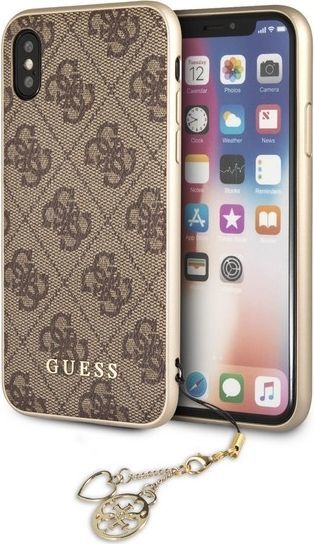 Guess Etui 4G Charms Collection do iPhone X, brązowy (GUHCPXGF4GBR) 1