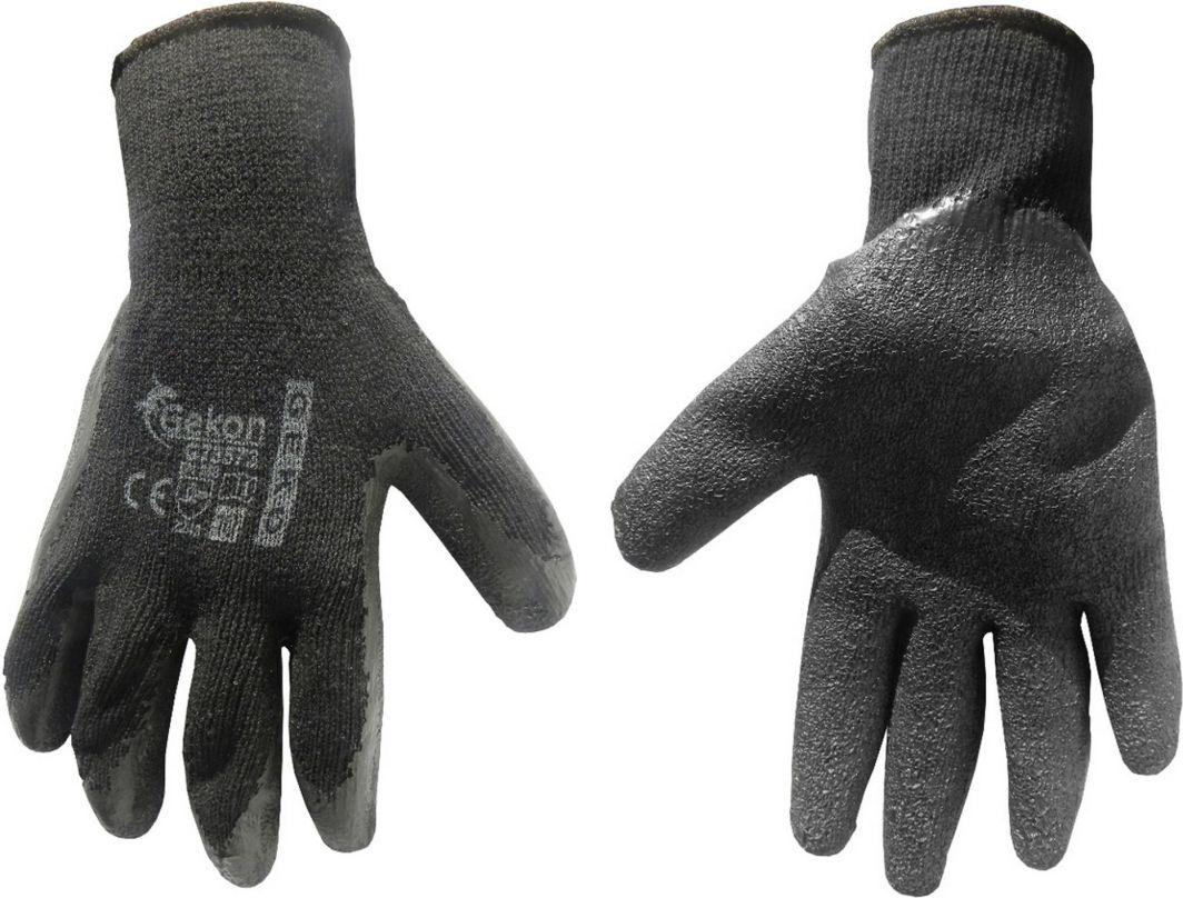 Geko Rękawice ochronne GEKON r.10/latex,czarne grube/(12/240) 1
