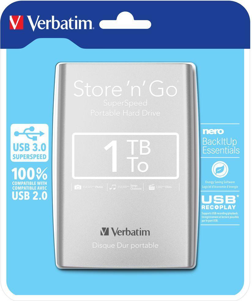 Dysk zewnętrzny Verbatim HDD Store 'n' Go Portable 1 TB Srebrny (53071) 1