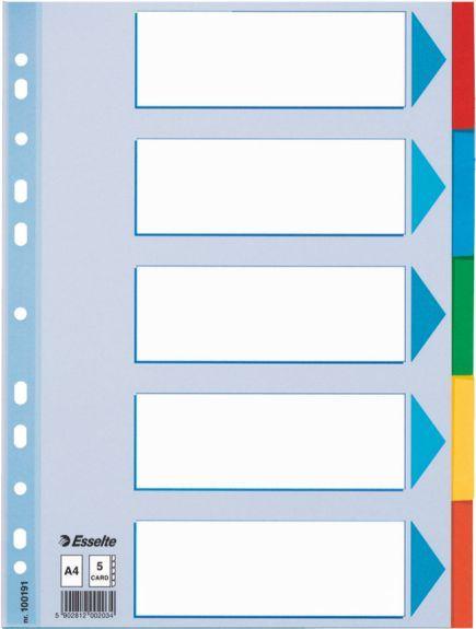 Esselte Zakładki indeksujące 5 kart 5 kolorów KARTA OPISOWA (100191) 1