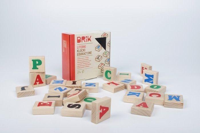 Brik Klocki drewniane dla dzieci literki - 27 sztuk (54 literki) 1