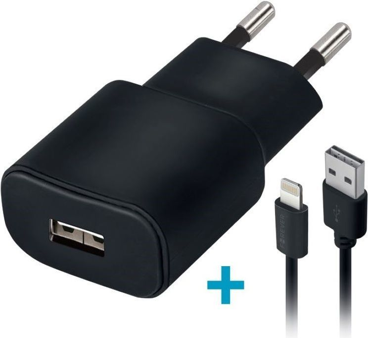 Ładowarka Forever Ładowarka sieciowa Forever USB 2A TC-01 + kabel do iPhone 8-pin czarna 1