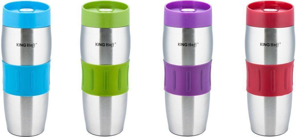 KingHoff Kubek termiczny Click Clack mix kolorów 380ml (KH-4171) 1