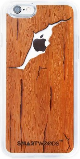 SmartWoods Case Etui Drewniane Cracked Brown Iphone 6 6S 1