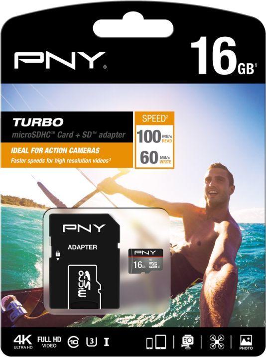 Karta PNY Technologies Turbo MicroSD 16 GB Class 10 UHS-I/U1  (SDU16GTUR-1-EF) 1