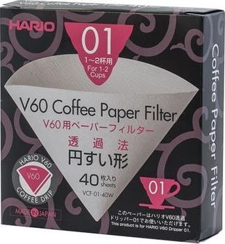 Hario Filtry papierowe Hario do dripa V60-01 40 sztuk 1