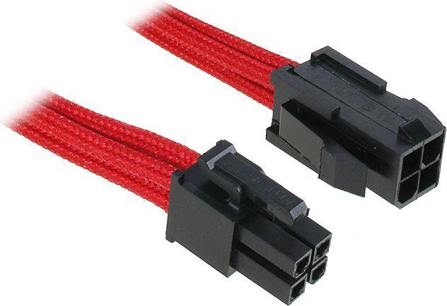 BitFenix Przedłużacz ATX12V 4-Pin 45cm - opływowy czerwono czarny (BFA-MSC-4ATX45RK-RP) 1