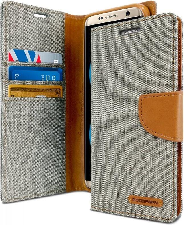 Mercury Mercury Canvas Diary - Etui Samsung Galaxy S8+ Z Kieszeniami Na Karty + Stand Up (szary/camel) 1