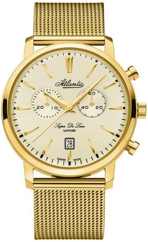 ab8b5a528d795d Atlantic Męski Super De Luxe 64456.45.31 Chronograf złoty w Morele.net