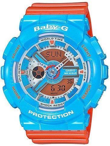Zegarek BABY-G Damski BA-110NC-2AER Baby-G niebiesko-pomarańczowy 1