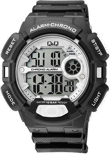Zegarek Q&Q Męski M132-008 Stoper Alarm WR100 czarny 1