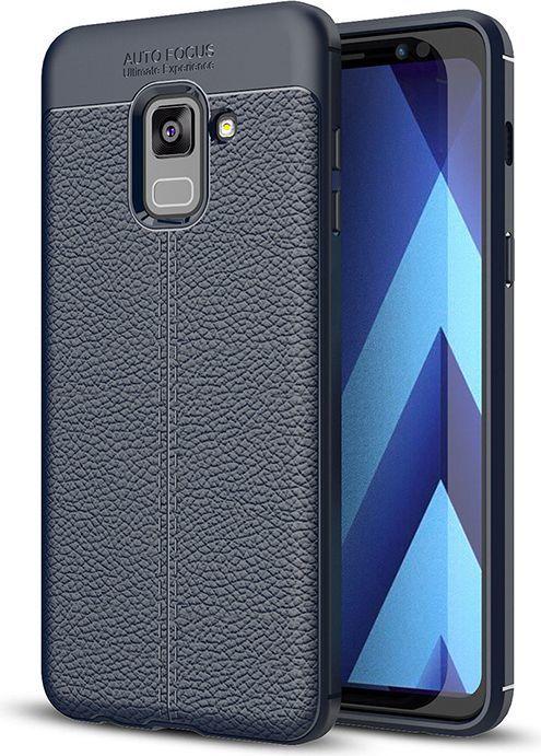 Hurtel Litchi Pattern elastyczne etui pokrowiec Samsung Galaxy A8 2018 A530 niebieski 1