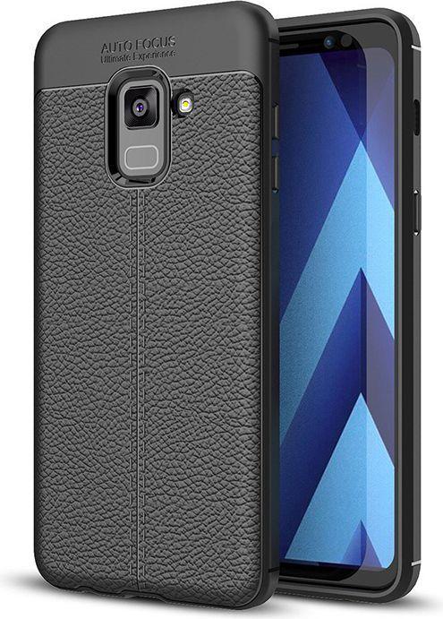 Hurtel Litchi Pattern elastyczne etui pokrowiec Samsung Galaxy A8 2018 A530 czarny 1