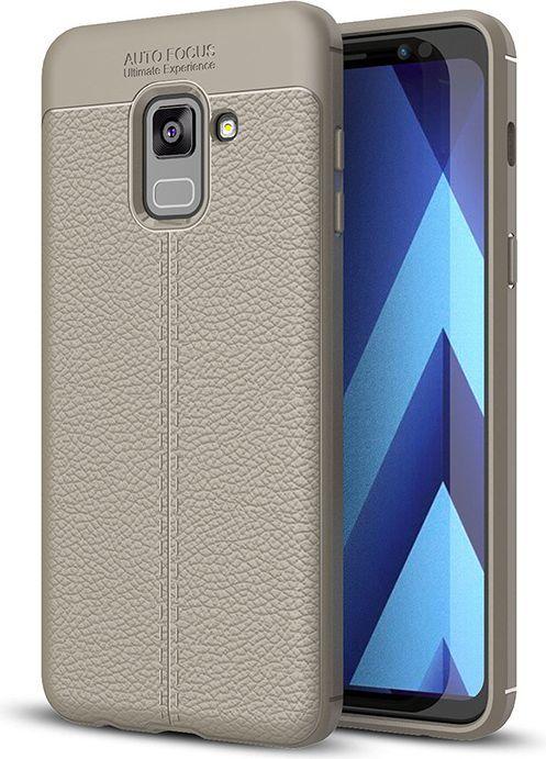 Hurtel Litchi Pattern elastyczne etui pokrowiec Samsung Galaxy A8 2018 A530 szary 1
