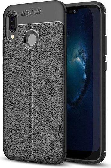 Hurtel Litchi Pattern elastyczne etui pokrowiec Huawei P20 Lite czarny 1