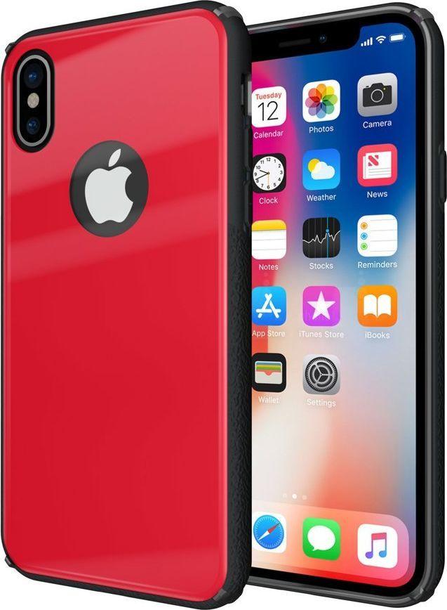 Hurtel Tempered Glass Case etui pokrowiec nakładka ze szkła hartowanego iPhone X czerwony 1