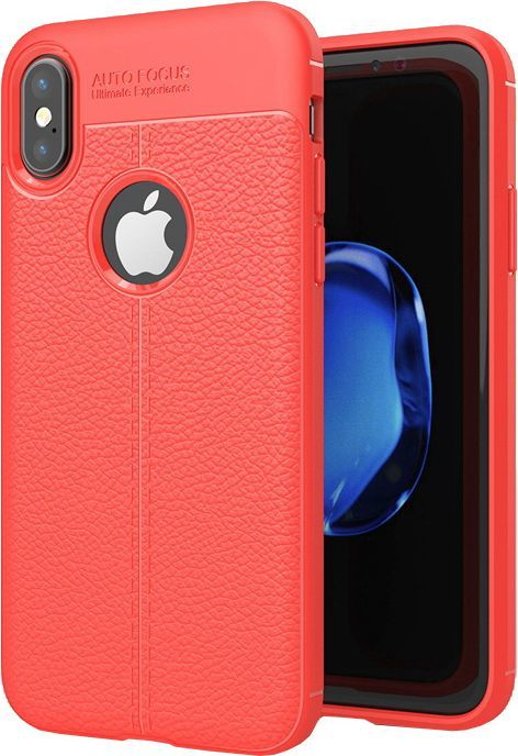 Hurtel Litchi Pattern elastyczne etui pokrowiec iPhone X czerwony 1