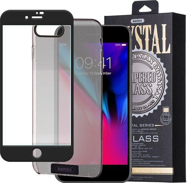 Remax Szkło hartowane 3D iPhone 8 Plus / 7 Plus Remax Crystal Glass na cały ekran + transparentne etui czarny 1