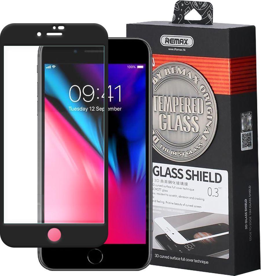 Remax Szkło hartowane iPhone 8 / 7 Remax Caesar 3D Tempered Glass na cały ekran z ramką czarny 1
