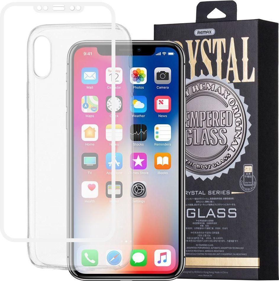 Remax Szkło hartowane 3D iPhone X Remax Crystal Glass na cały ekran + transparentne etui biały 1