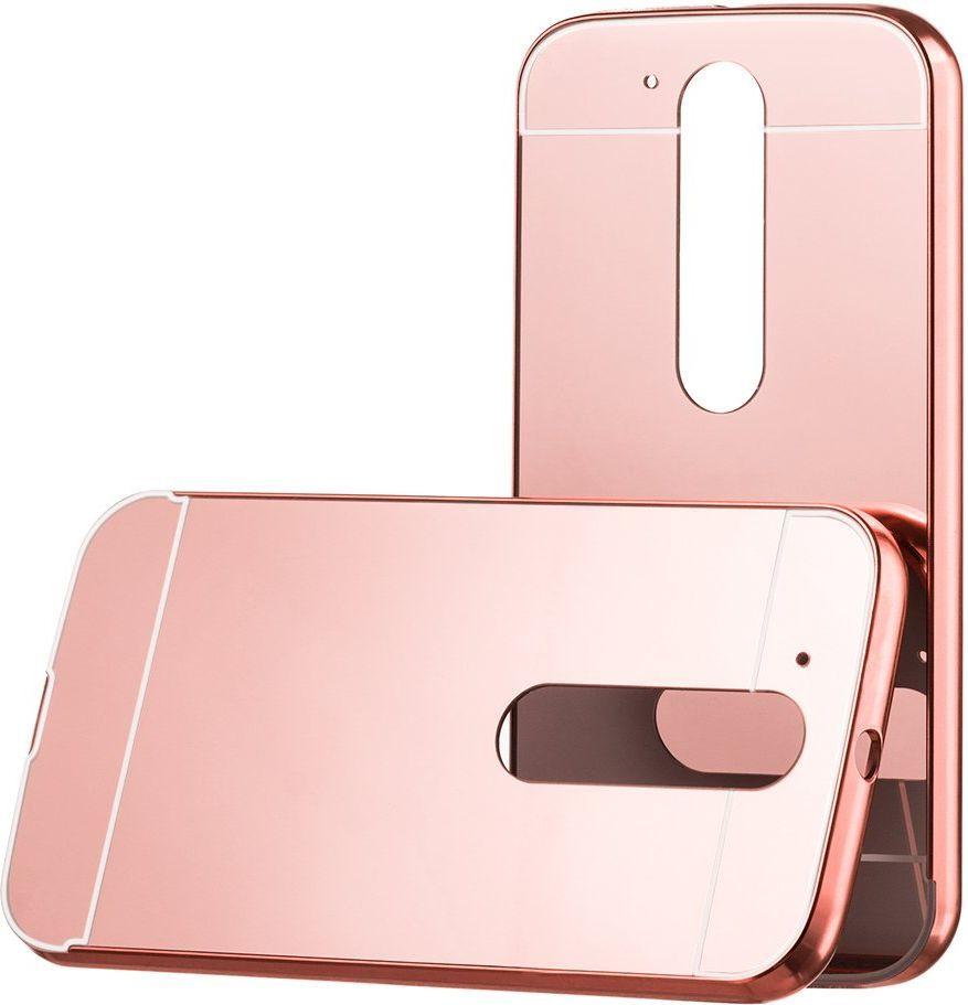 Hurtel Aluminiowy pokrowiec etui Metal Mirror Bumper Motorola Moto G4 różowy 1