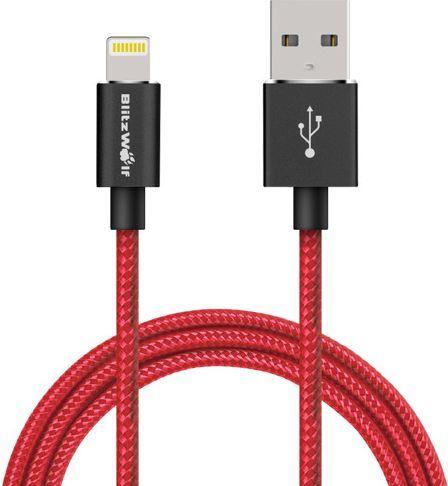 Kabel USB Blitzwolf BW-MF5 Lightning, USB 2.0, 1m, kolor czerwony 1