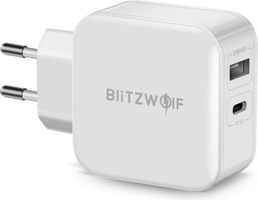 Ładowarka Blitzwolf USB, USB typ C kolor biały (BW-S11) 1