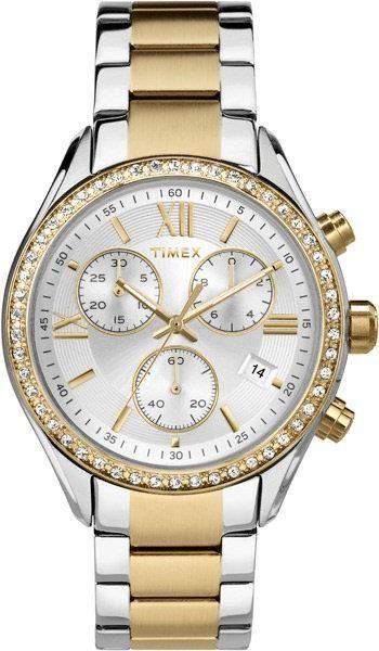 Zegarek Timex Damski TW2P67000 Chronograf srebrno-złoty 1