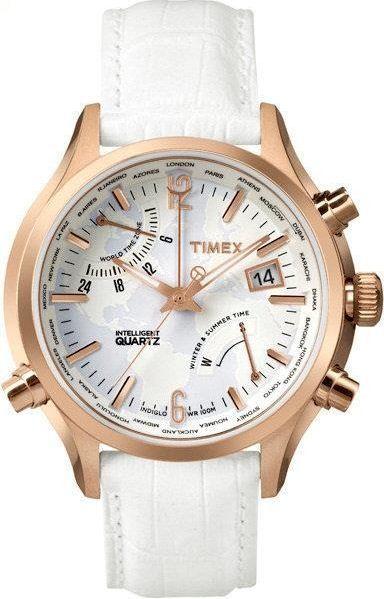 Zegarek Timex Damski TW2P87800 IQ Traveller World Time biały 1
