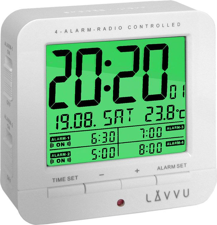 Lavvu Budzik LAVVU LAR0010 Termometr Sensor Light 4 alarmy DCF77 1