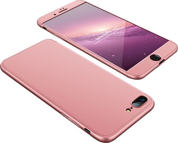 Hurtel 360 Protection etui na całą obudowę przód + tył iPhone 8 Plus / 7 Plus różowy 1