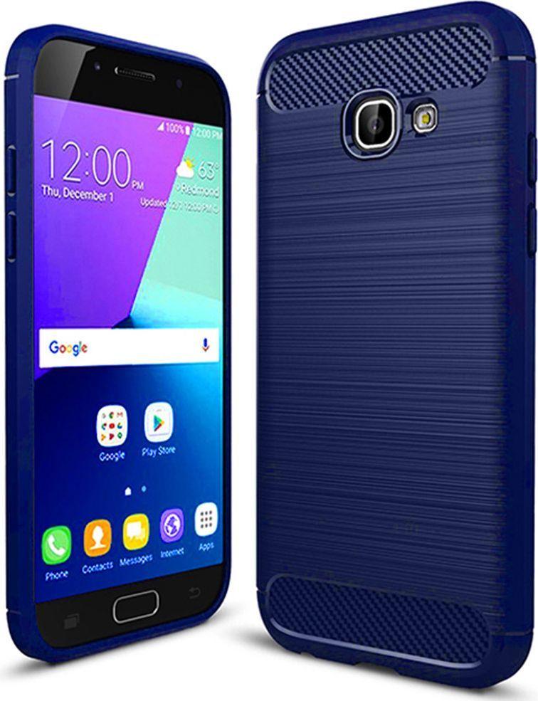 Hurtel Etui Samsung Galaxy A3 2017 A320 Carbon Case elastyczne pokrowiec niebieski 1