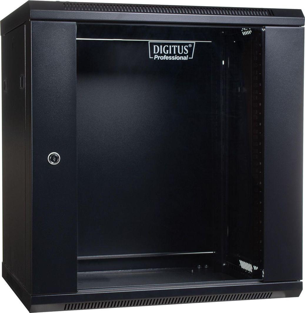 "Szafa Digitus DIGITUS Szafa wisząca 19"" 12U 635/600/450mm, drzwi szklane, czarna niezmontowana 1"