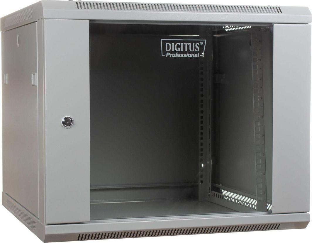 """Szafa Digitus DIGITUS Szafa wisząca 19"""" 9U 501/600/600mm, drzwi szklane, szara, niezmontowana 1"""